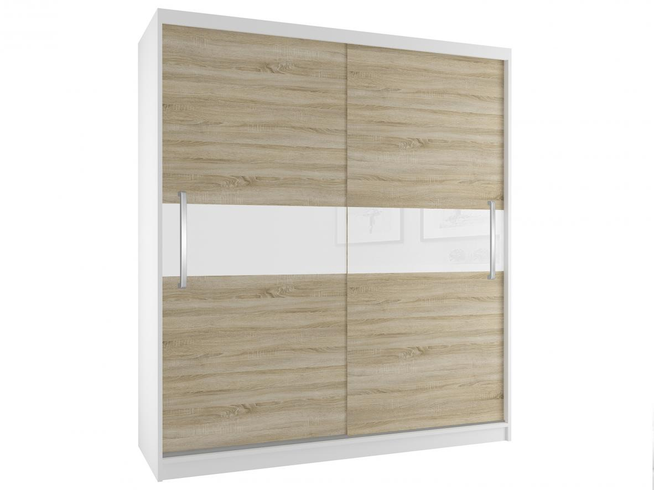 Trendy šatní skříň s posuvnými dveřmi dub sonoma s bílým pruhem šířka 133 cm