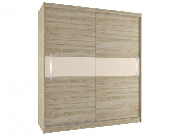 Šatní skříň s posuvnými dveřmi šířka 133 cm barva dub sonoma s béžovým pruhem