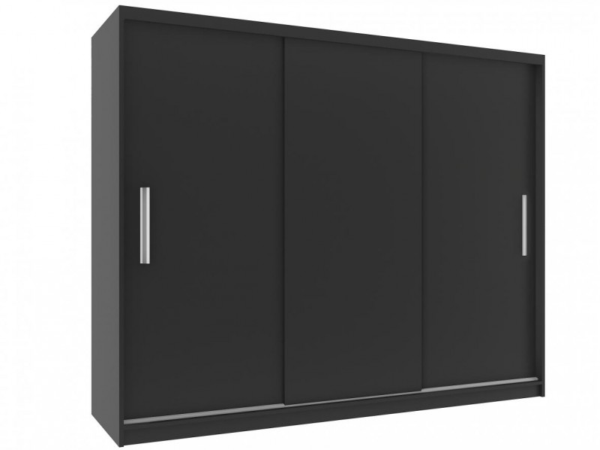 Černá šatní skříň s trojdílnými posuvnými dveřmi