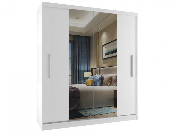 Bílá šatní skříň se středovým zrcadlem a posuvnými dveřmi šířka 133 cm