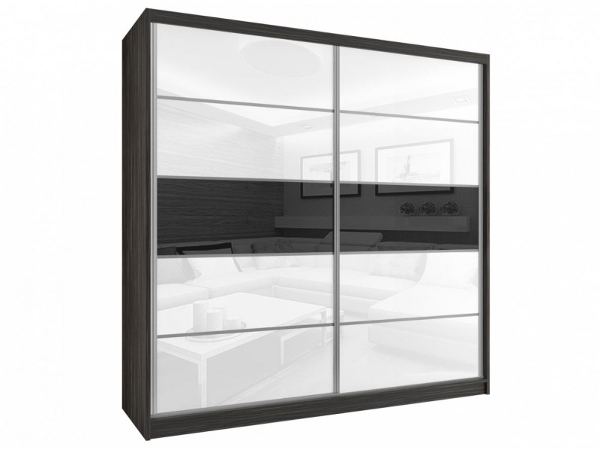 Skříň s posuvnými dveřmi černobílá Wren 200 cm