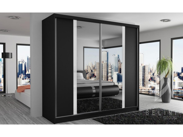 Šatní skříň černá Grimy s posuvnými dveřmi