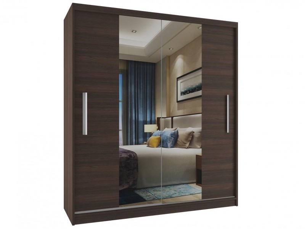Trendy objemná skříň 133 cm s širokým zrcadlem korpus kaštan a bílé dveře