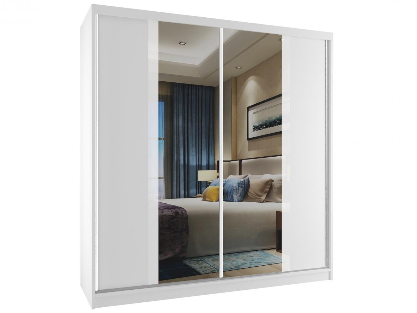 Skříně do ložnice 158 cm se zrcadlem bez úchytek bílý korpus