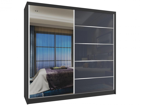 Šatníkova skriňa so zrkadlom čierny korpus, sivé dvere 200 cm