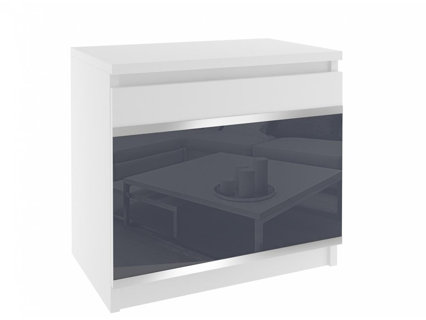 Noční stolek s dvířky Meneo bílý/šedý