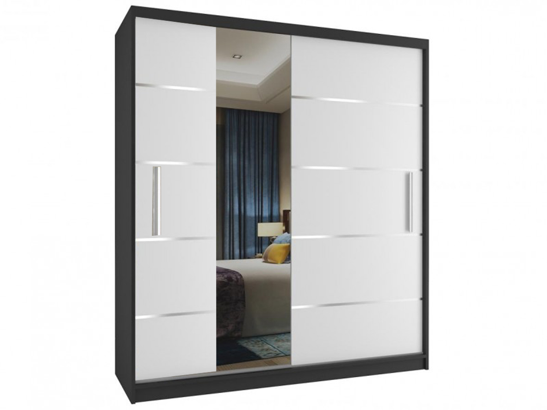 Skriňa do spálne čierna/biela Dary 158 cm