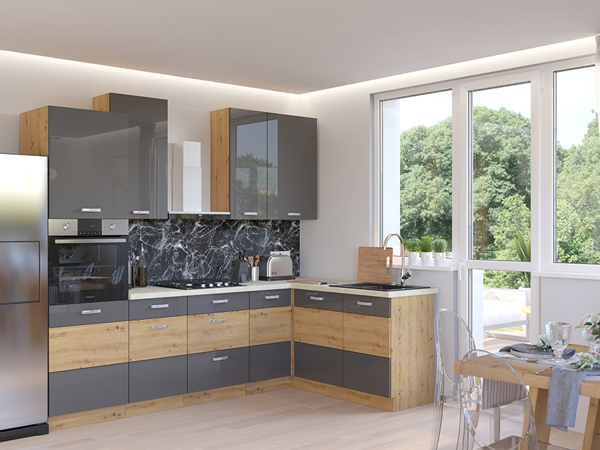 Rohová kuchyňa 260x160 cm šedá/dub artisan MYSTIC