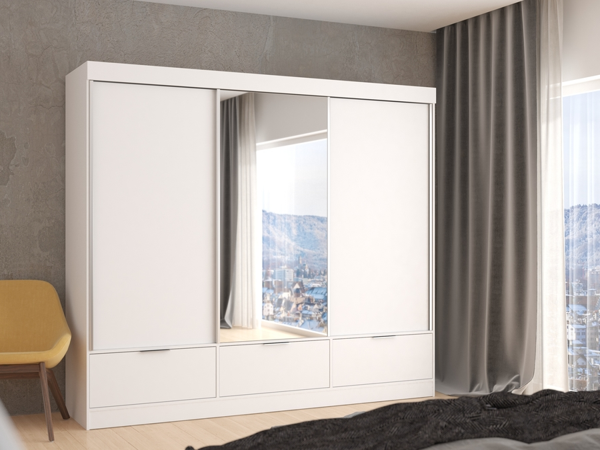 Bílá skříň se zrcadlem Funny 268 cm