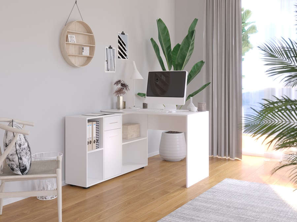 Biely rohový pracovný stôl Ofis
