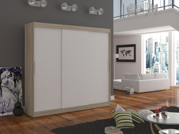 Skriňa dub sonoma s bielymi posuvnými dverami Lagos 250 cm
