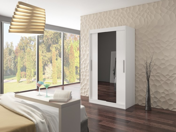 Bílá skříň se zrcadlem Larina 120 cm
