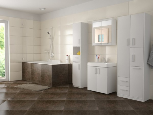 Koupelnová skříňka s košem Sanha 60 cm