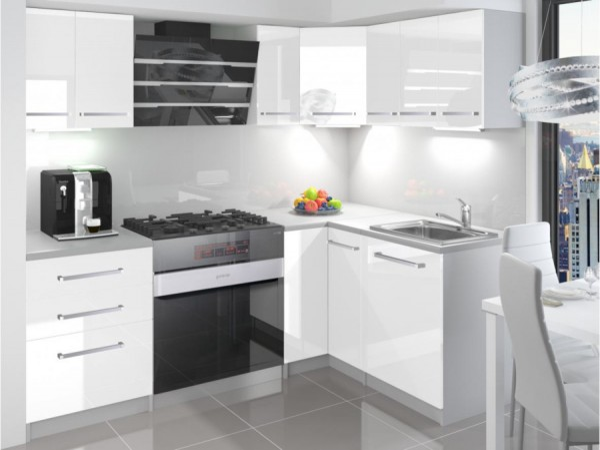 Kuchyně bílá lesklá rohová Mona