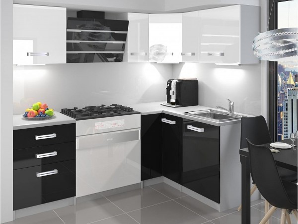 Rohová kuchyňská sestava bílo-černá Janka
