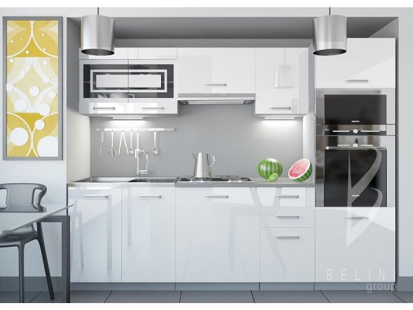 Bílá sektorová kuchyňská linka Luxe 240 cm