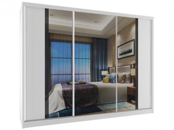 Šatní skříň s posuvnými dveřmi Flea 235 cm bílá