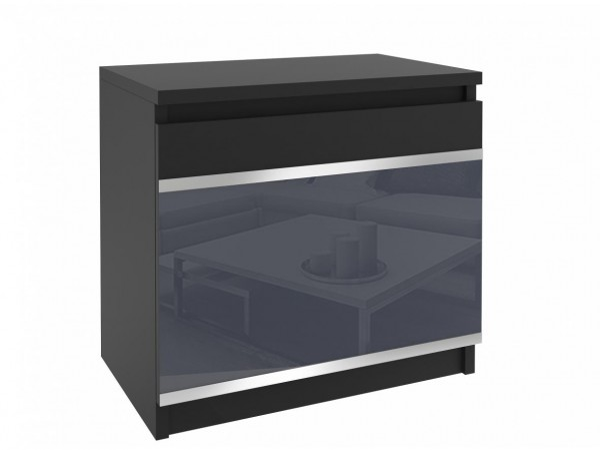Černý noční stolek beauty s šedým sklem a hliníkovými pásky