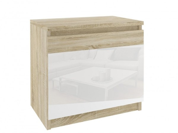 Noční stolek beauty - korpus dub sonoma s bílým sklem - šířka 48 cm