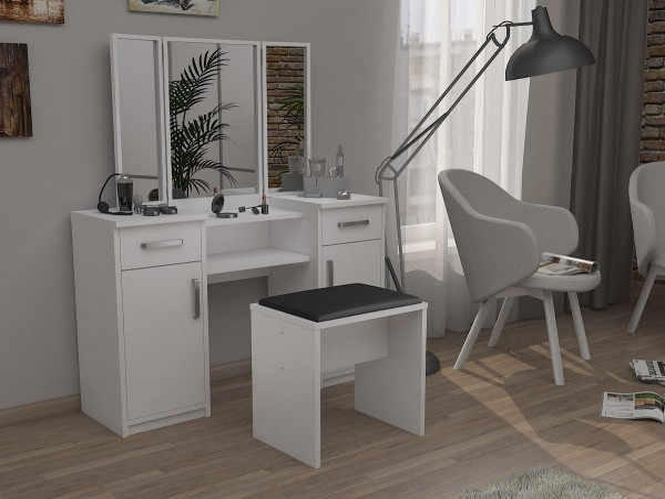 Moderná zostava taburetka + toaletný stolík s 3 zrkadlami