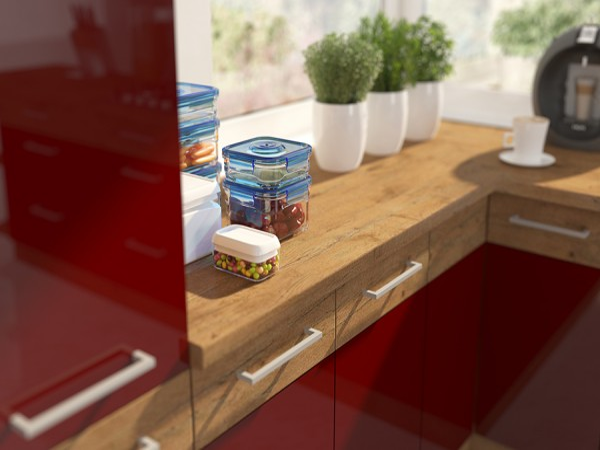 Veľká rohová kuchyňa 330x340 cm – bordó/dub lancelot VISION