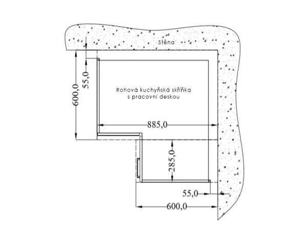 Rohová kuchyňská skříňka spodní 83 x 83 cm