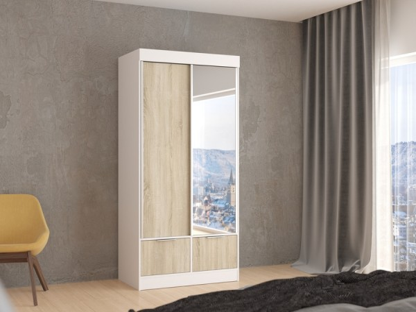 Zrcadlová skříň Verde 120 cm - bílá/dub sonoma