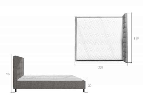 Moderní čalouněná dvoulůžková postel Mandy 140 x 200