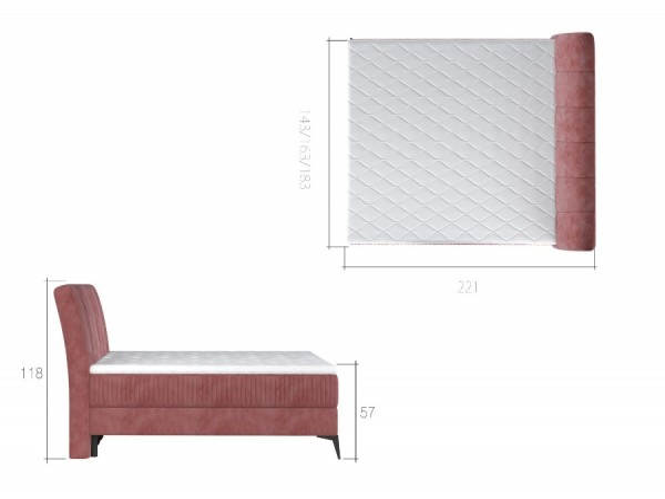 Boxspring americká postel 140x200 cm Adel