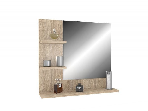 Dub sonoma nástenné zrkadlo s policami 60 x 60 ľavý variant