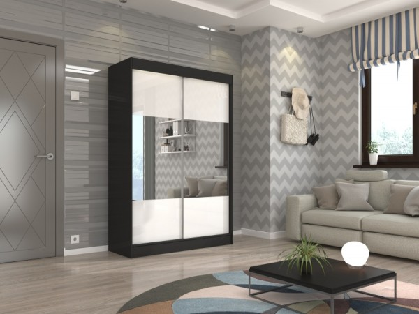 Černo-bílá skříň do pokoje Galway 150 cm