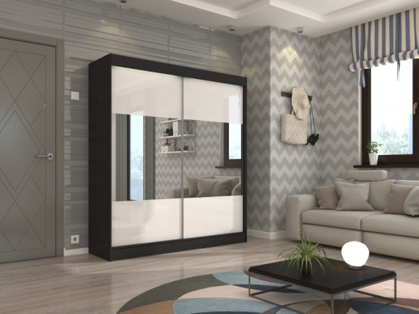 Čierna šatníková skriňa s bielymi posuvnými dverami a zrkadlom 200 cm