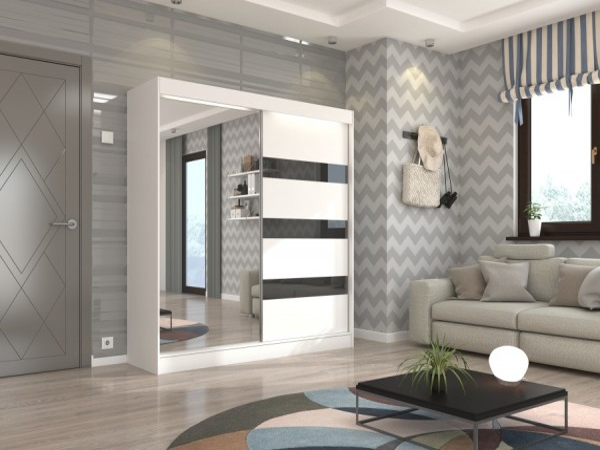 Bílá zrcadlová skříň s černými pruhy  Ronda 200 cm