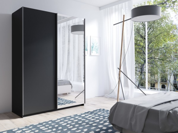 Elegantní černá šatní skříň Tithali 150 cm