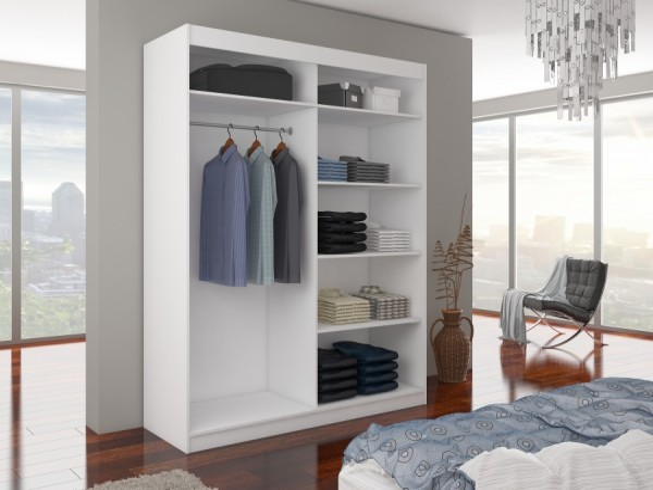 Bílá skříň s posuvnými dveřmi a zrcadlem Bagun