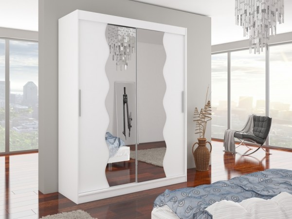 Skriňa so zrkadlom biela Jill 180 cm