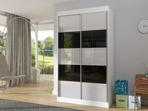 Úzká bílá skříň s pruhovanými dveřmi Fatima 120 cm