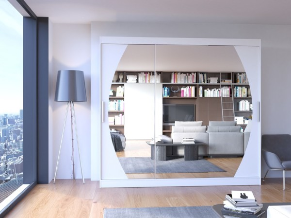Bílá skříň se zrcadlem Tirsha 215 cm