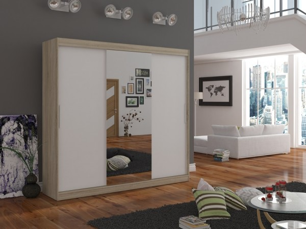 Skříň do pokoje Wangi 215 cm dub sonoma/bílá