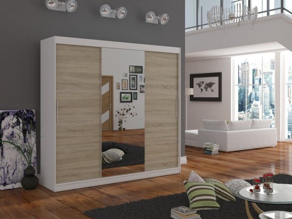 Velká šatní skříň se zrcadlem Wangi 215 cm bílá/dub sonoma