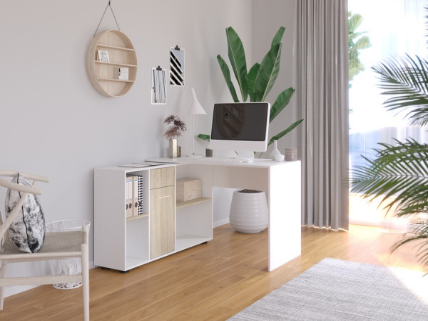 Stôl na PC Ofis biely/dub sonoma