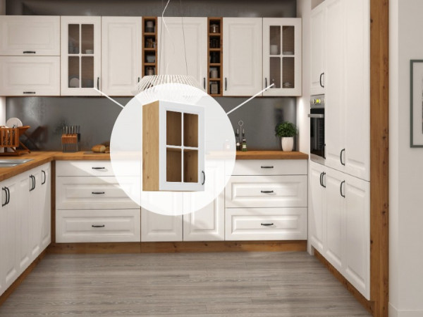 Horní prosklená skříňka do kuchyně 40 x 72 cm